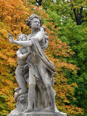 Salmakis und Hermaphroditus, Skulpturengruppe im Lazienki-Park, Warschau, 18. Jahrhundert